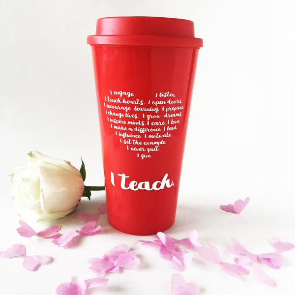 teacher travel mug heart I teach teacher valentine's day gift