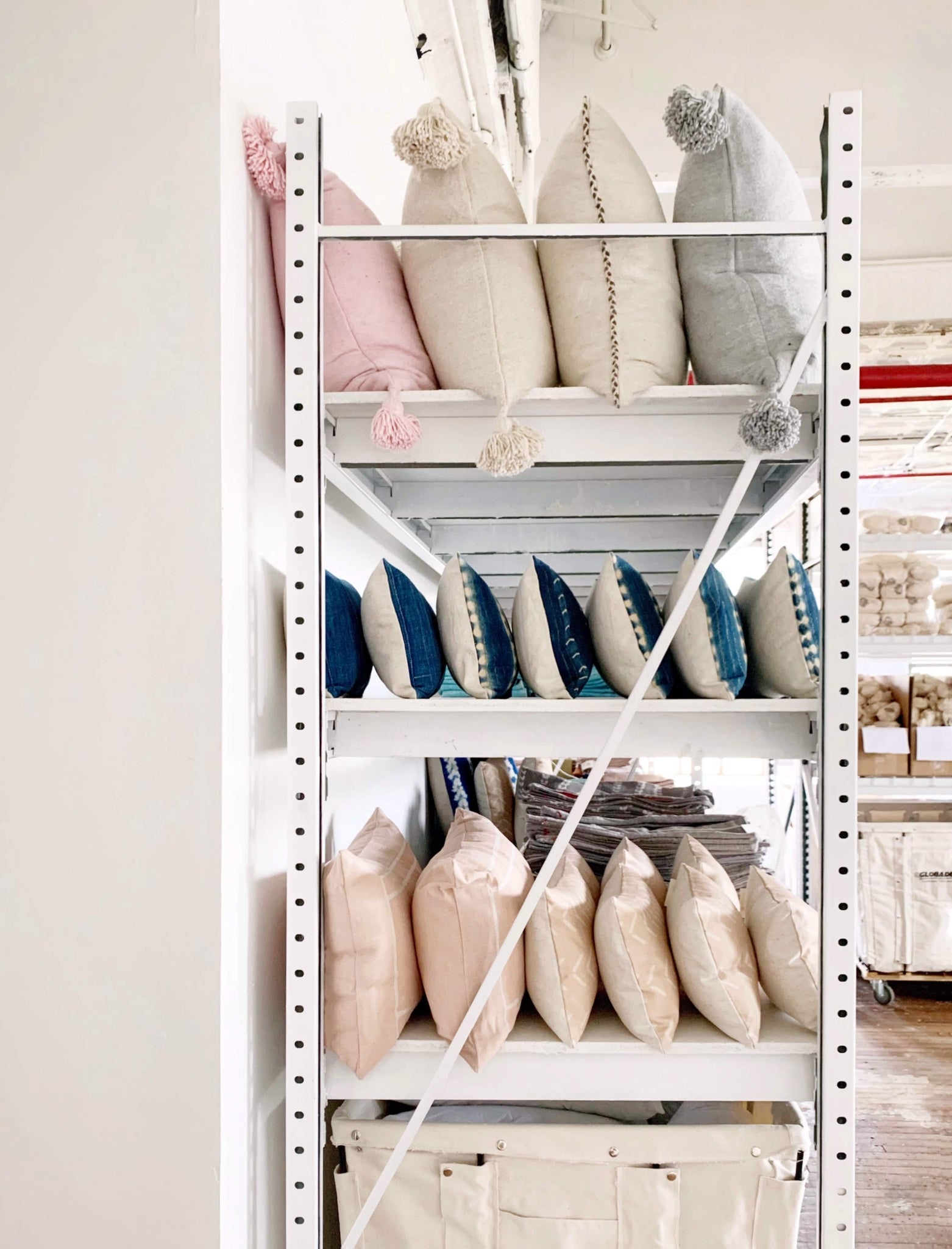 warehouse shelf with pillows
