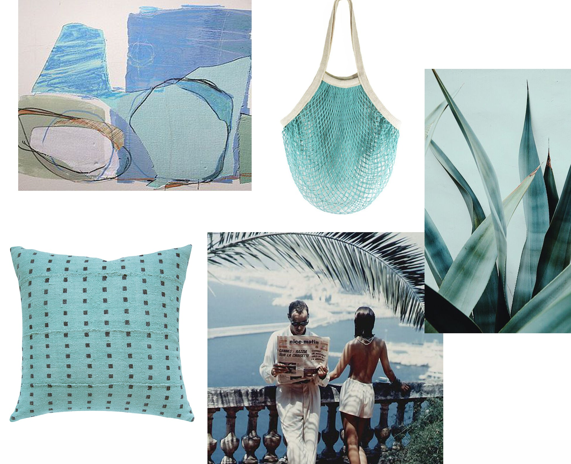 collage of blue images. Blue pillow with little blue squares. Blue net bag.