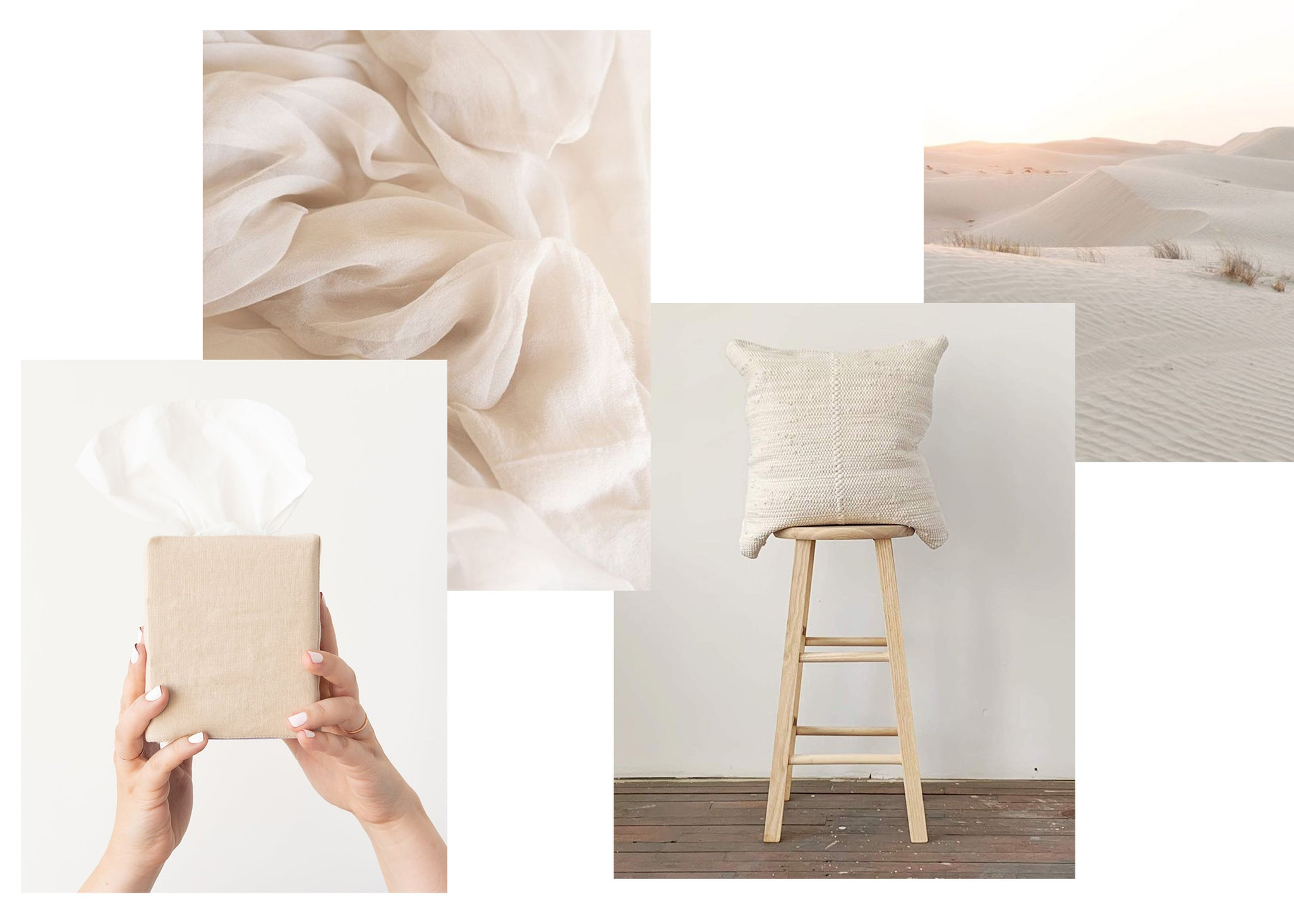 collage of cream colored images