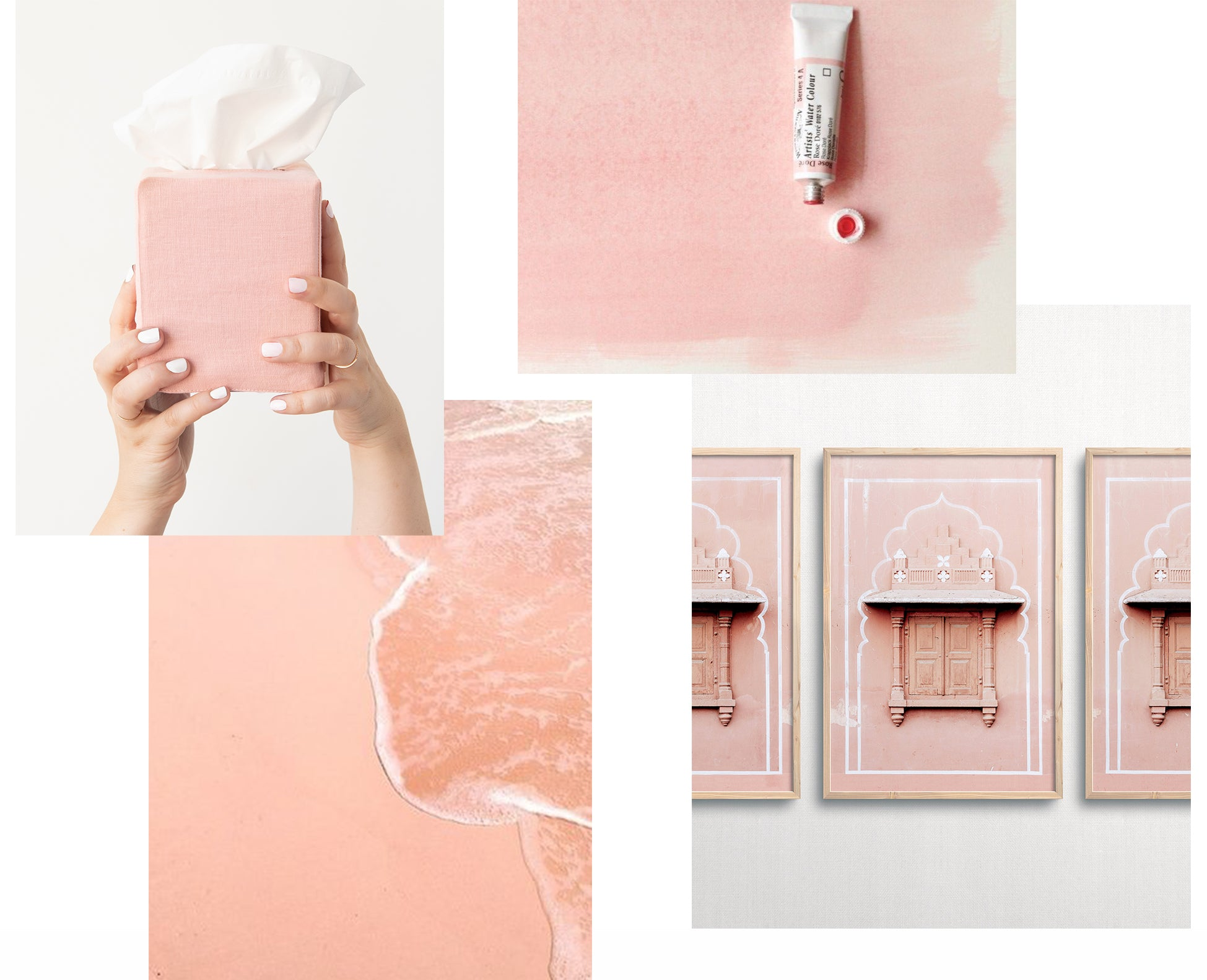collage of pink images. Hands holding pink tissue box, framed photo of door.
