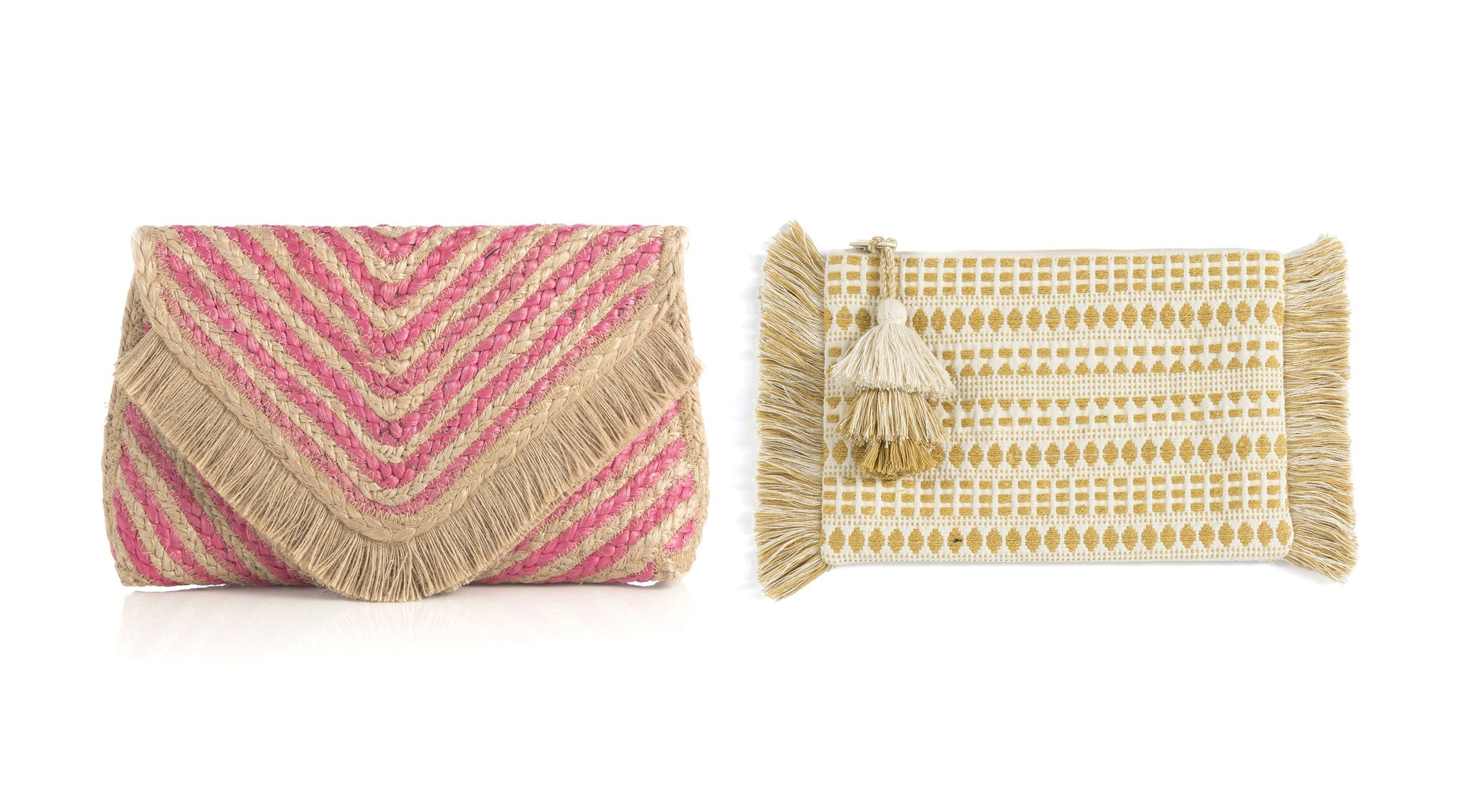 pink and natural striped jute clutch