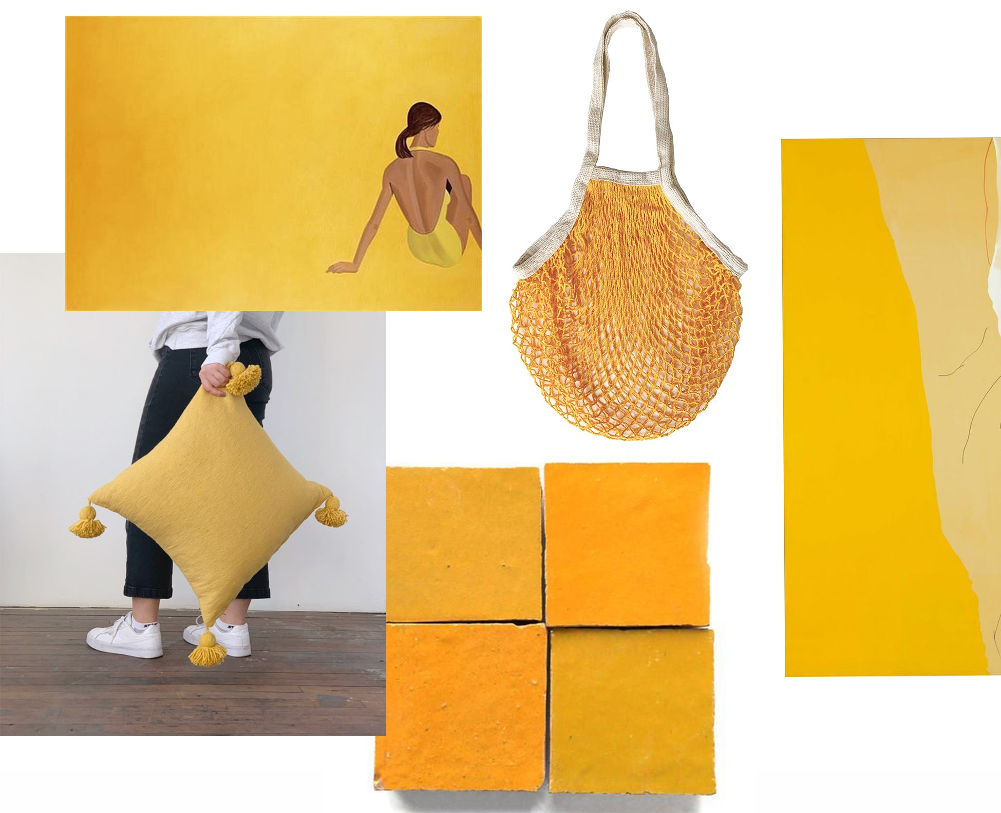 collage of yellow images. hand holding yellow pillow. Yellow net bag