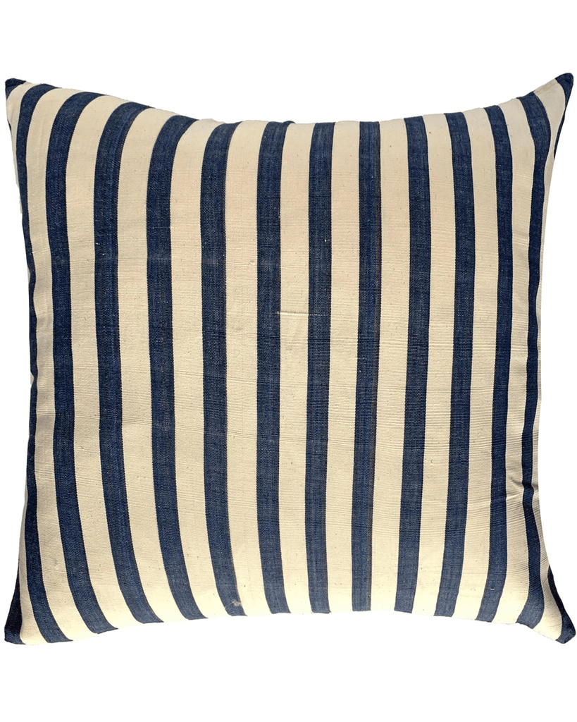 handwoven black and cream wide stripe pillow