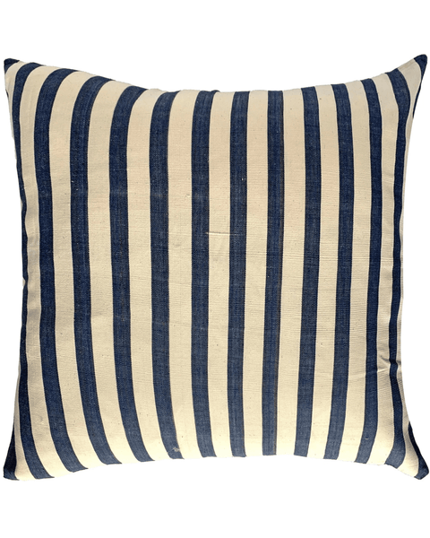 handwoven indigo and cream wide stripe pillow