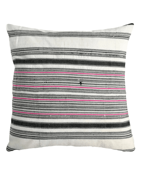 hmong striped pillow white with black and pink stripe