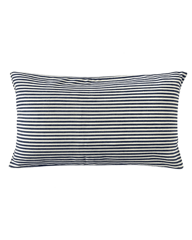 cream and indigo striped lumbar pillow