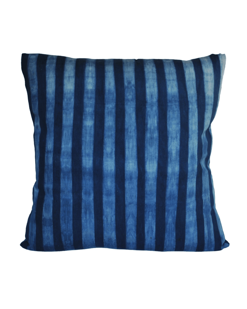 handwoven tonal indigo wide stripe pillow