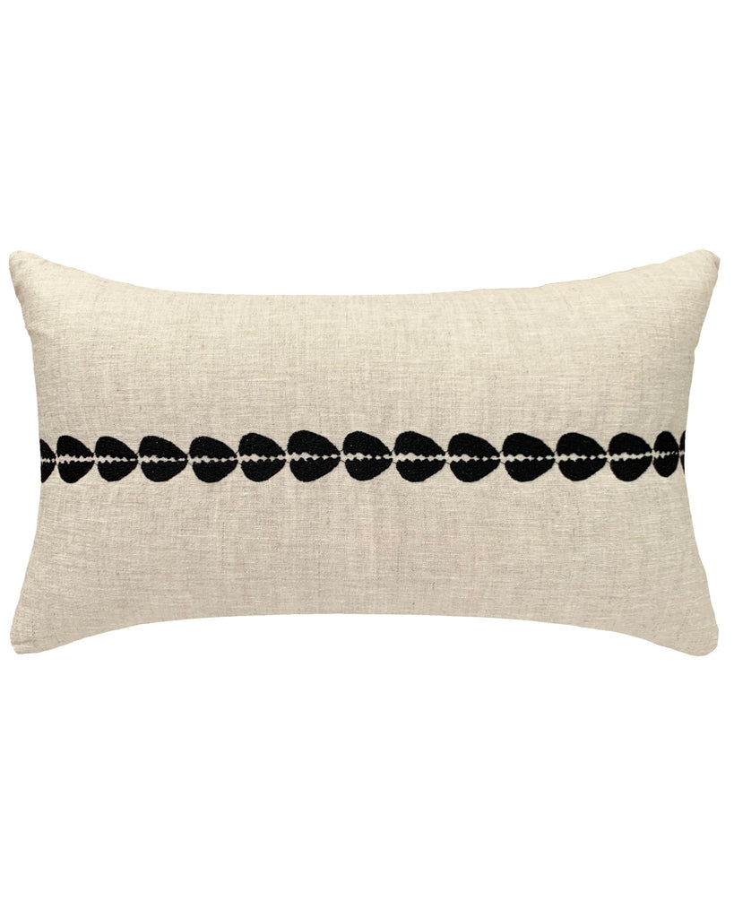 Cowrie Embroidered Lumbar Pillow In Natural Pillowpia