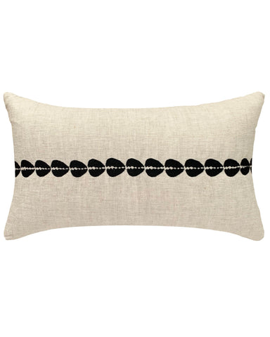 cowrie embroidered lumbar pillow in natural