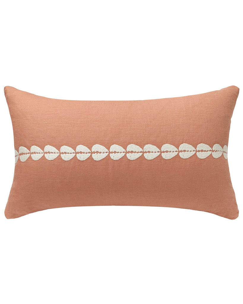 cowrie embroidered lumbar pillow in sandalwood