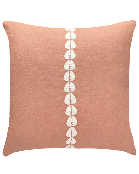 cowrie embroidered pillow in sandalwood