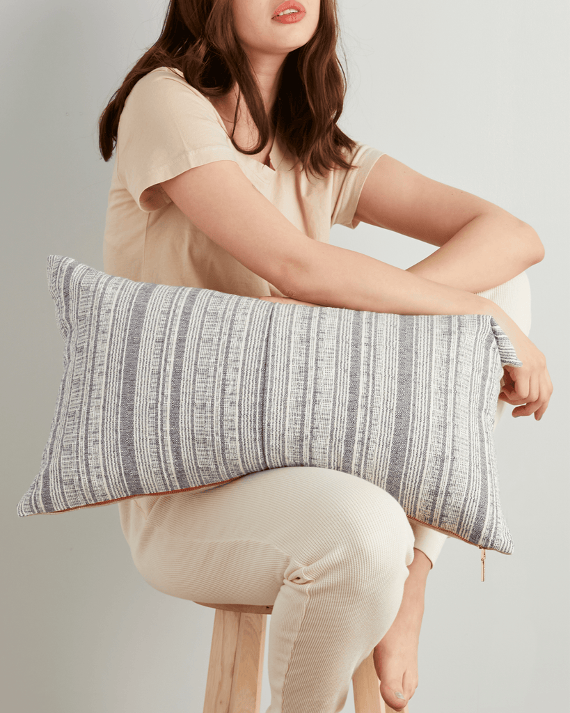 hmong striped large lumbar pillow in cream with grey
