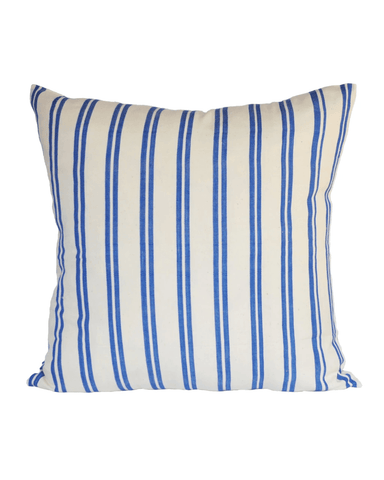 cream with blue stripe pillow