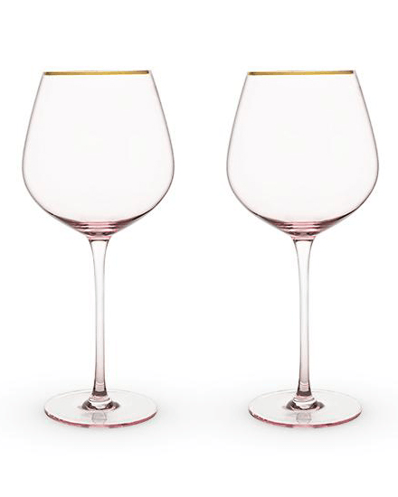rose crystal red wine glass set/2