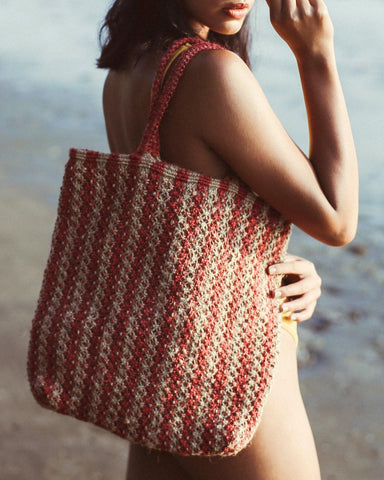 louisa striped jute tote bag