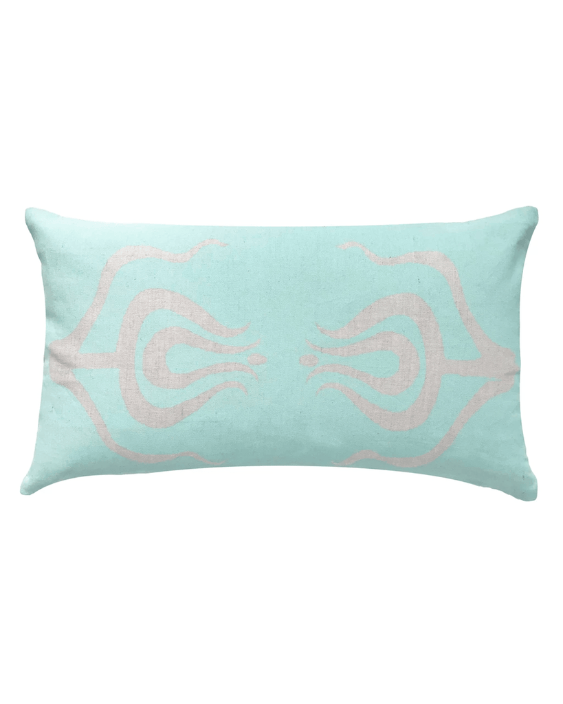 tulips lumbar pillow in aqua