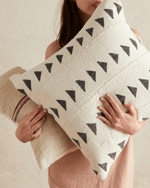 triangle mud cloth pillow in white