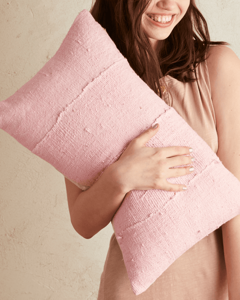 solid mud cloth lumbar pillow in bubblegum