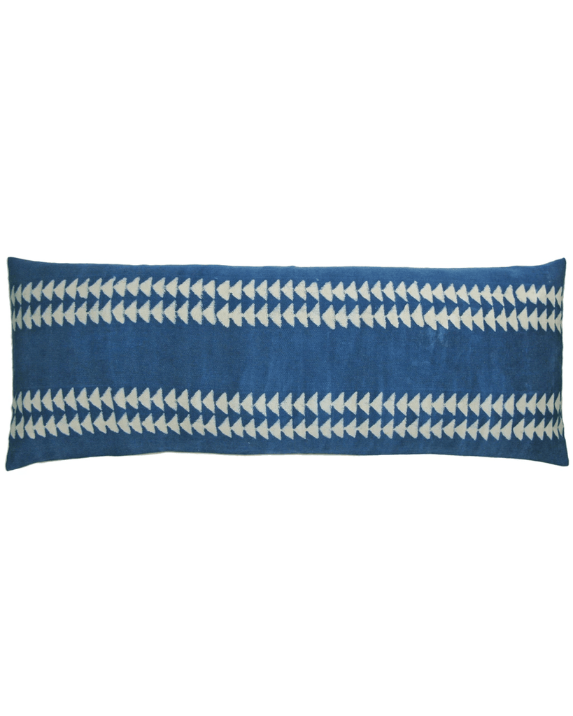Indigo triangle lumbar pillow