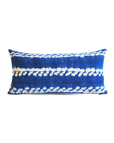shibori mud cloth lumbar pillow in vibrant indigo