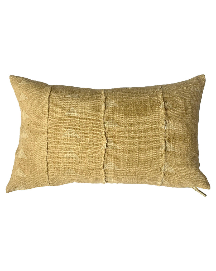 triangle lumbar mud cloth pillow in faded blonde north