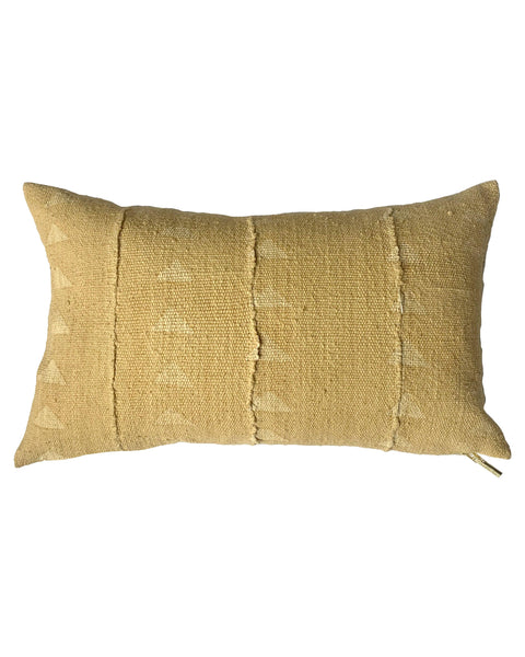 faded triangle lumbar mud cloth pillow in blonde