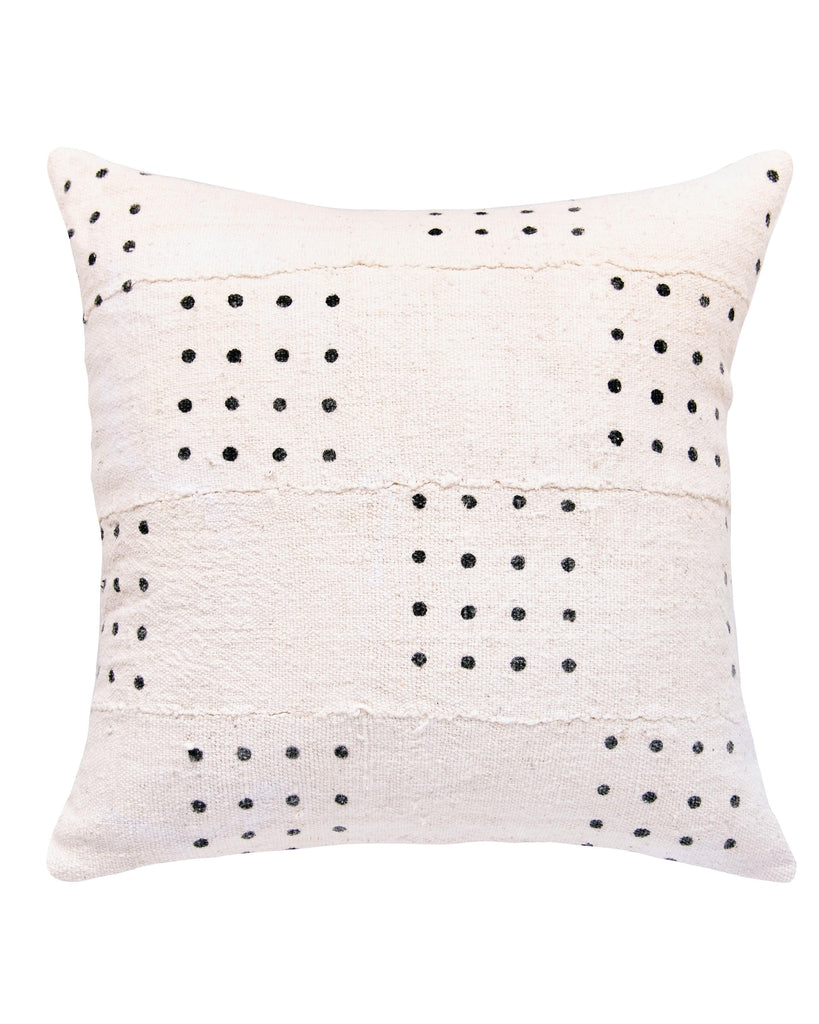 dotted mud cloth pillow in white