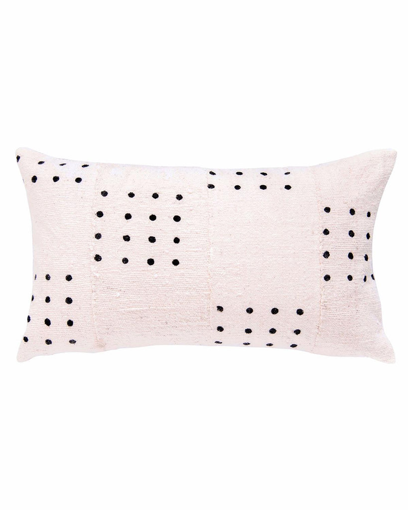 dotted mud cloth lumbar pillow in white