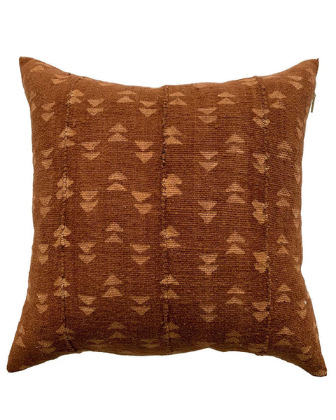 double triangle mud cloth pillow in rust