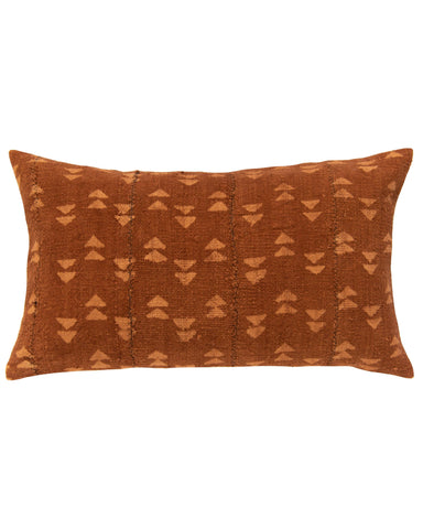 double triangle lumbar mud cloth pillow in rust
