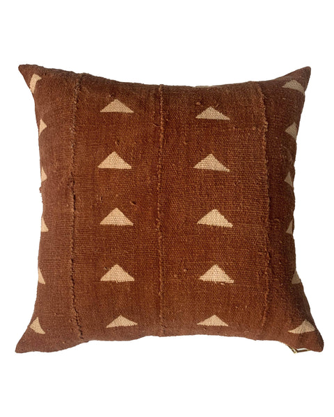 single triangle mud cloth pillow in rust