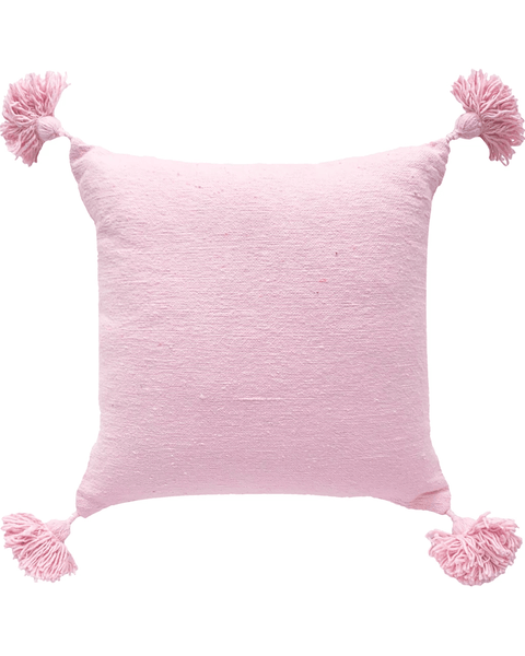 moroccan pom pom pillow in cherry blossom