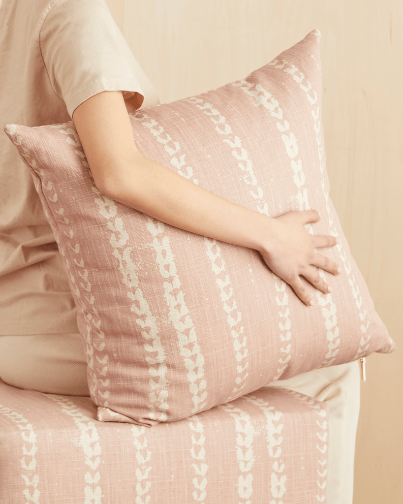 vines pillow in blush
