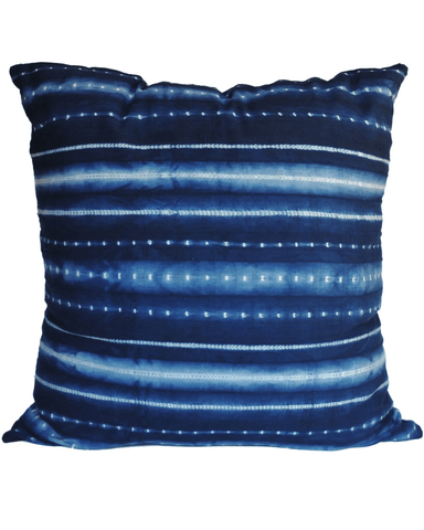 handwoven indigo washed dot and stripe large pillow