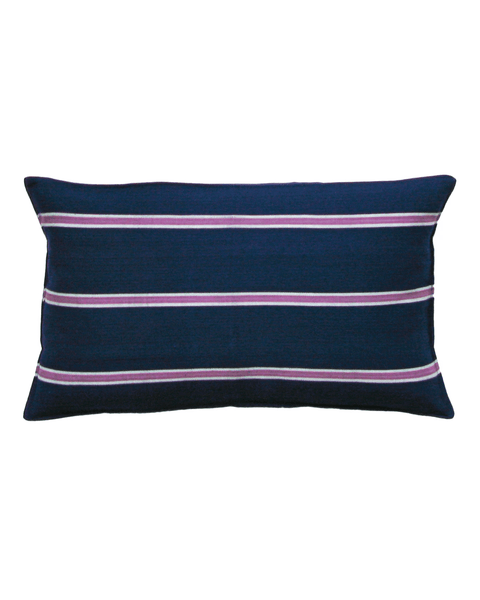 handwoven violet triple stripe pillow