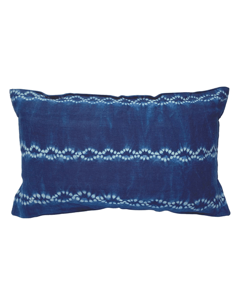 handwoven deep indigo chainlink stripe pillow