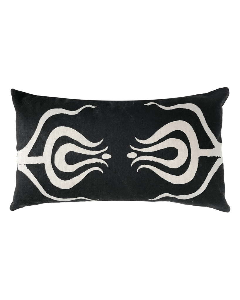 tulips lumbar pillow in black