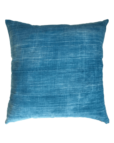 solid mud cloth pillow in indigo