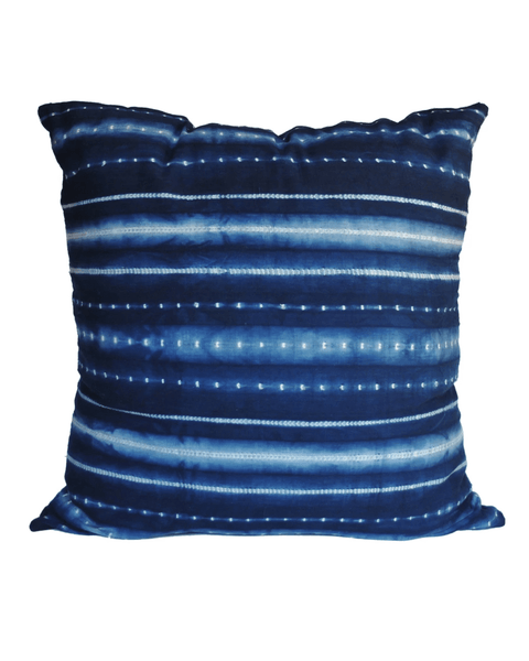 handwoven indigo washed dot and stripe pillow