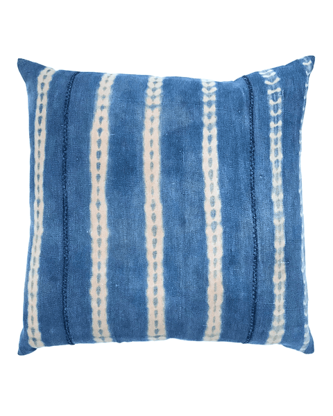 vines mud cloth pillow in faded indigo