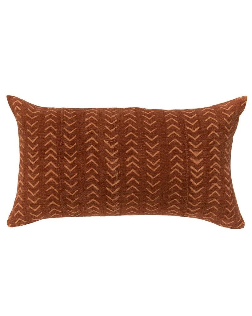 arrows mud cloth large lumbar pillow in rust