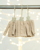 cable knit sweater ornament in tan