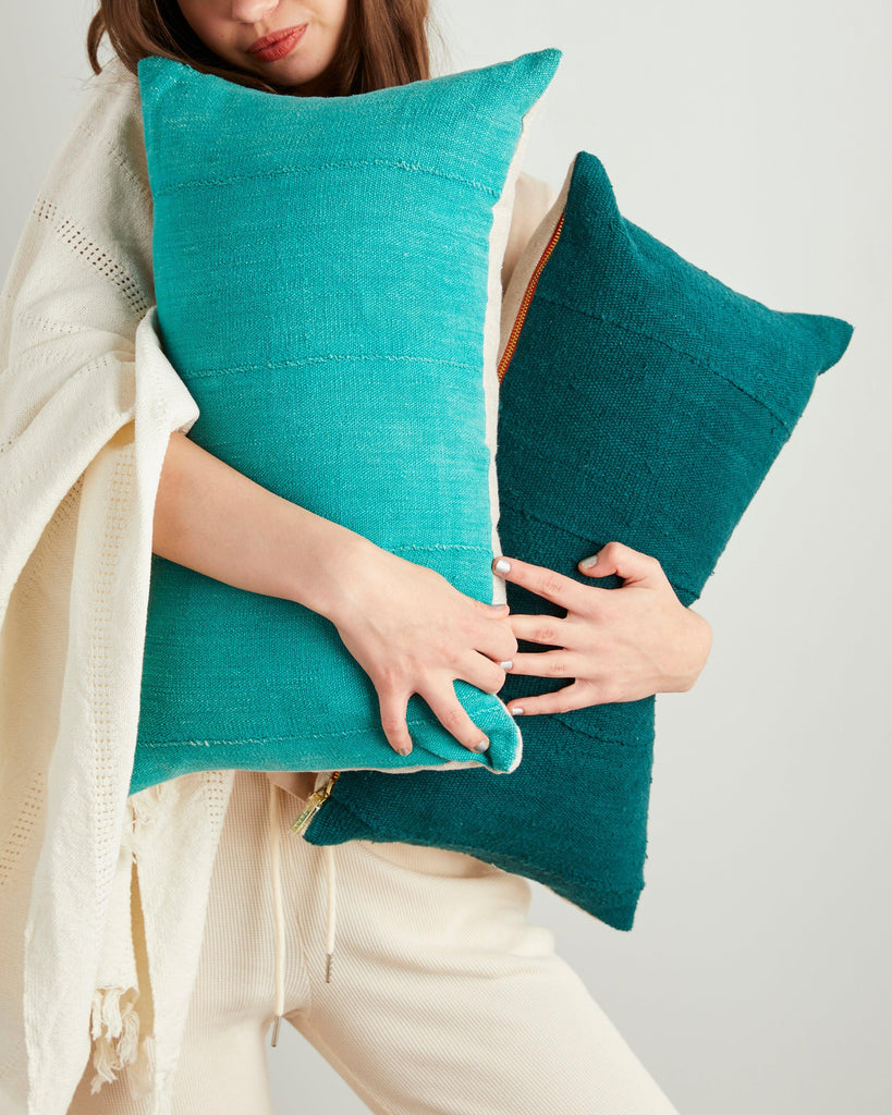 solid mud cloth lumbar pillow in lagoon