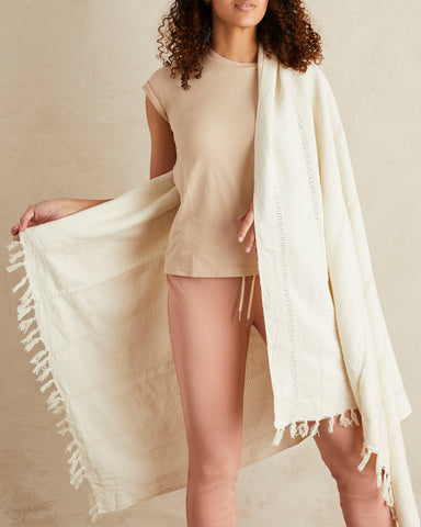 fringe summer throw in cream