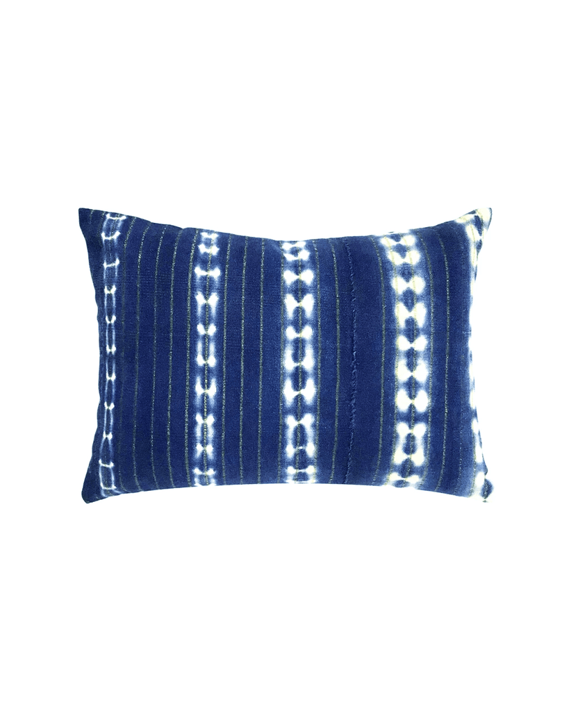 indigo batik petite mud cloth pillow with gold thread