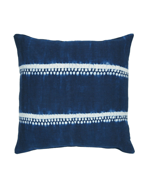 handwoven indigo dot and stripe pillow