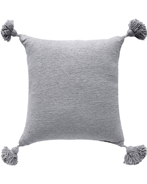 moroccan pom pom pillow in pebble