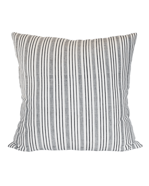 handwoven black and cream variegated stripe pillow