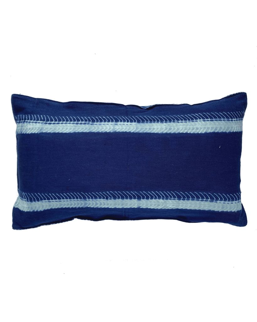 handwoven deep indigo eyelash stripe pillow